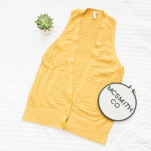 ✨Fossil | Long Yellow Thin Knit Retro Sweater Vest